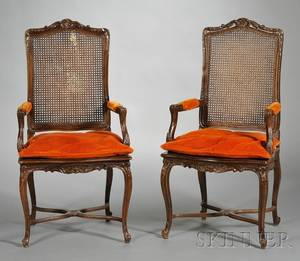 Pair of Louis XV Style Caned and Carved Beechwood Fauteuils a la Reine
