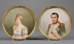 Pair of Painted Porcelain Plaques of Napoleon and Marie Louise