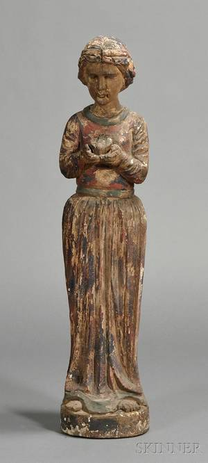 Carved and Polychrome Wood Figure of a Saint