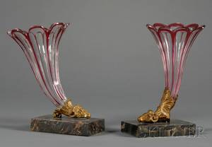 Pair of Ruby Cut to Clear Glass Cornucopiaform Vases