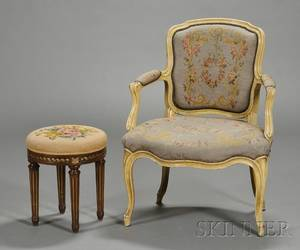 Louis XV Style Painted Fauteuil en Cabriolet and an Associated Footstool