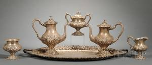SixPiece Sterling Repousse Tea and Coffee Service