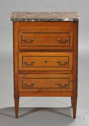 Italian Ebony Inlaid and Marbletop Walnut Diminutive Commode