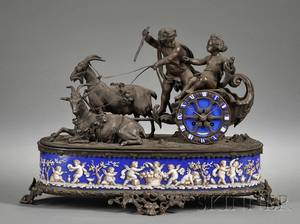French Porcelain and Enameled Bronze Mantel Clock