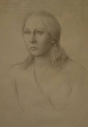 Framed Graphite on Paperboard Portrait of a Young Woman by William H Bailey American b 1930