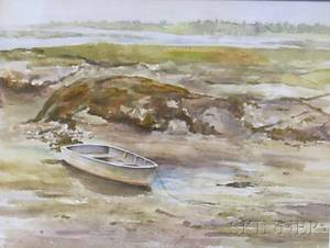 Framed Watercolor on Paperboard View of Perkins Cove by Ray Doyle American 20th Century