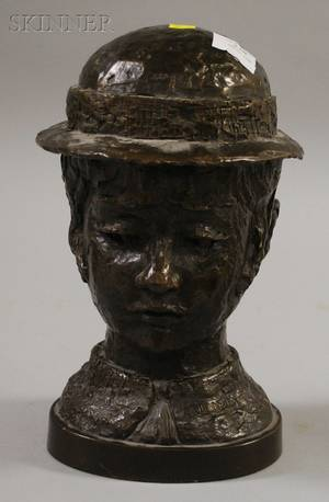 American School 20th Century Portrait Bust of a Girl with Hat