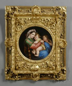 German Painted Porcelain Plaque after Raphaels Madonna Della Sedia