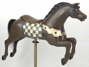 Carved and painted carousel horse early 20th c