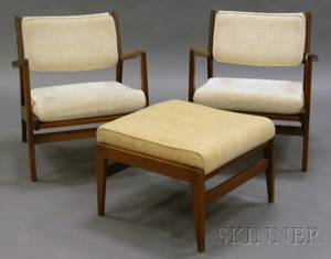Pair of Jens Risom Attributed Lounge Chairs and an Ottoman