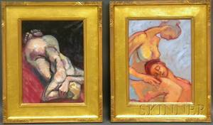 American School 20th Century Lot of Two Figure Studies
