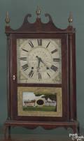 American Federal mahogany pillar and scroll clock ca 1810