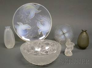 Six Pieces of Lalique and Sabino Art Glass