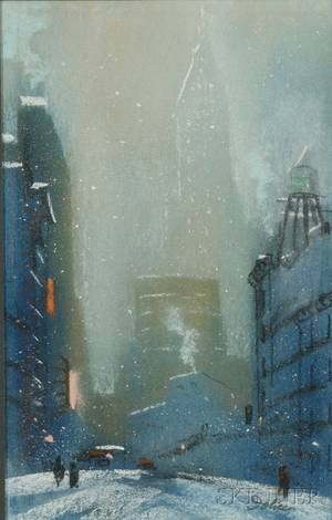 Leon Louis Dolice American 18921960 Winter View of New York City at Dusk
