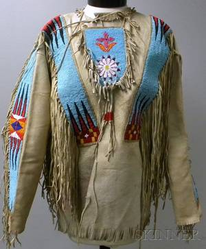 Mans Native American Plains Beaded and Fringed Hide Shirt