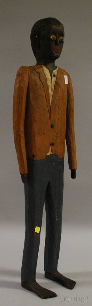 Folk Carved and Painted Wooden Articulated Figure of a Black Man