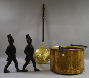Brass Bedwarmer with Turned Wood Handle Large Brass Kettle with Wrought Iron Handle and a Pair of Blackpainted Cast Iron Hessian