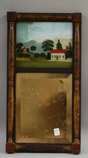 Grained Birdseye Maple Splitbaluster Mirror with Reversepainted Glass Tablet Depicting a House in a Landscape