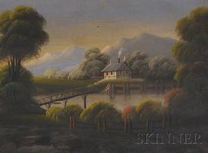 Giltwood Framed Late 19th Century Oil on Canvas Landscape with House