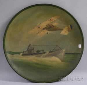 Handpainted Tin Wall Plaque with BiPlane and UBoat