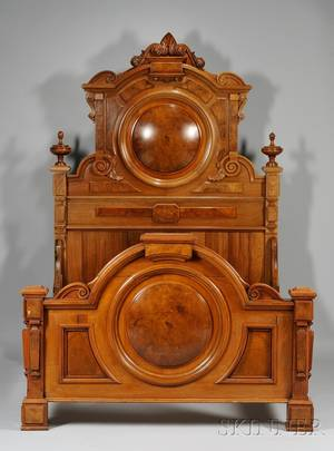 Victorian Renaissance Revival Carved Walnut and Burl Veneer Bed
