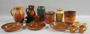 Three Pieces of Glazed Redware and Thirteen Pieces of Old Sturbridge Village Glazed and Slip Decorated Redware
