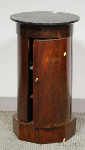 Empire Circular Marbletop Mahogany Pedestal Commode Stand