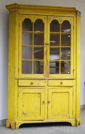 Glazed Yellowpainted Pine Corner Cupboard