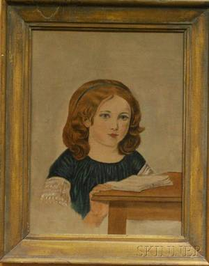 Late 19th Century American School Oil on Canvas Portrait of a Girl Reading