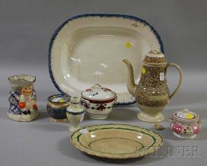 Eight Pieces of Assorted 19th Century English Decorated Ceramic Tableware