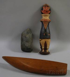 Three Assorted Wooden and Stone Figural Items