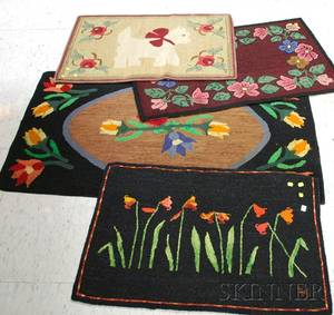 Three Floral Pattern Hooked Rugs and a Scottie Dog Pattern Hooked Rug