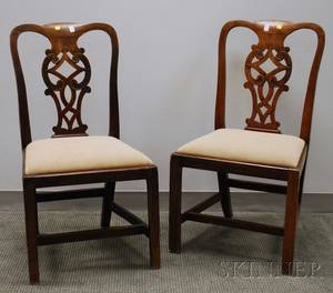 Pair of Chippendale Carved Walnut Side Chairs with Upholstered Slip Seats