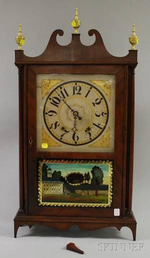 Eli  Samuel Terry Mahogany Pillar and Scroll Shelf Clock