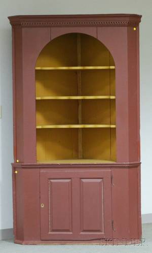 Burgundy and Yellow Painted Wooden Corner Cupboard