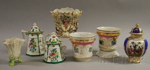 Seven Pieces of Assorted English and European Decorated Ceramic Tableware