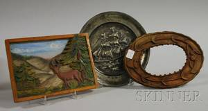 Two Reliefcarved Wooden Items and a Pewter Plate
