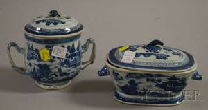Canton Porcelain Covered Sugar Bowl and Small Covered Sauce Tureen