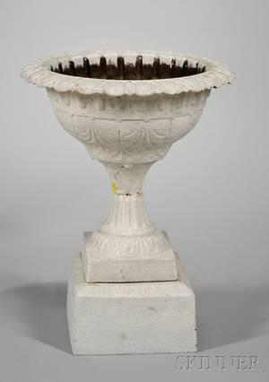 Late Victorian Whitepainted Cast Iron Garden Urn