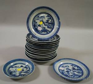 Assembled Set of Seventeen Chinese Export Canton Porcelain Soup Bowls