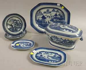 Seven Pieces of Chinese Export Porcelain Canton Blue and White Tableware