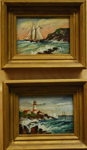 Two Henry Bedigie Oil on Artist Board Works Depicting a Coastal Scene with Lighthouse and a Shoreline View with Sailboat