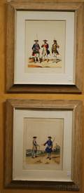 Lot of Two Framed Handcolored Lithographs of French Military Uniforms from Infanterie Etrangere