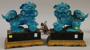 Pair of Chinese Pottery Foo Dogs on Stands