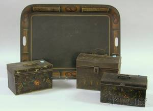 Three Painted Tin Document Boxes and a Painted and Stencil Decorated Tin Tray