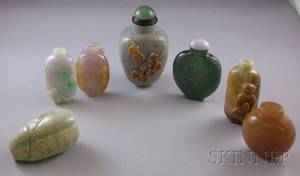 Seven Asian Carved Stone Snuff Bottles