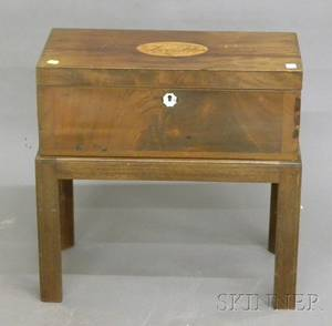 Chippendalestyle Inlaid Mahogany Lap Desk on Stand
