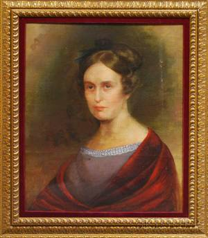 19th Century American School Oil on Canvas Portrait of a Lady with Red Shawl