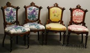 Set of Four Victorian Renaissance Revival Scalamandre Upholstered Carved Walnut Parlor Side Chairs