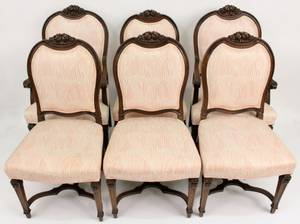 Six Walnut Renaissance Revival Style Dining Chairs